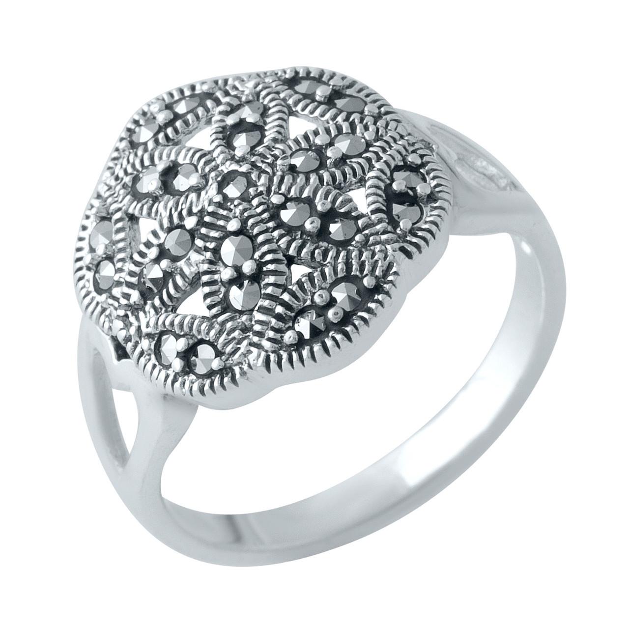 Родированное серебряное кольцо 925 пробы с натуральными марказитами
