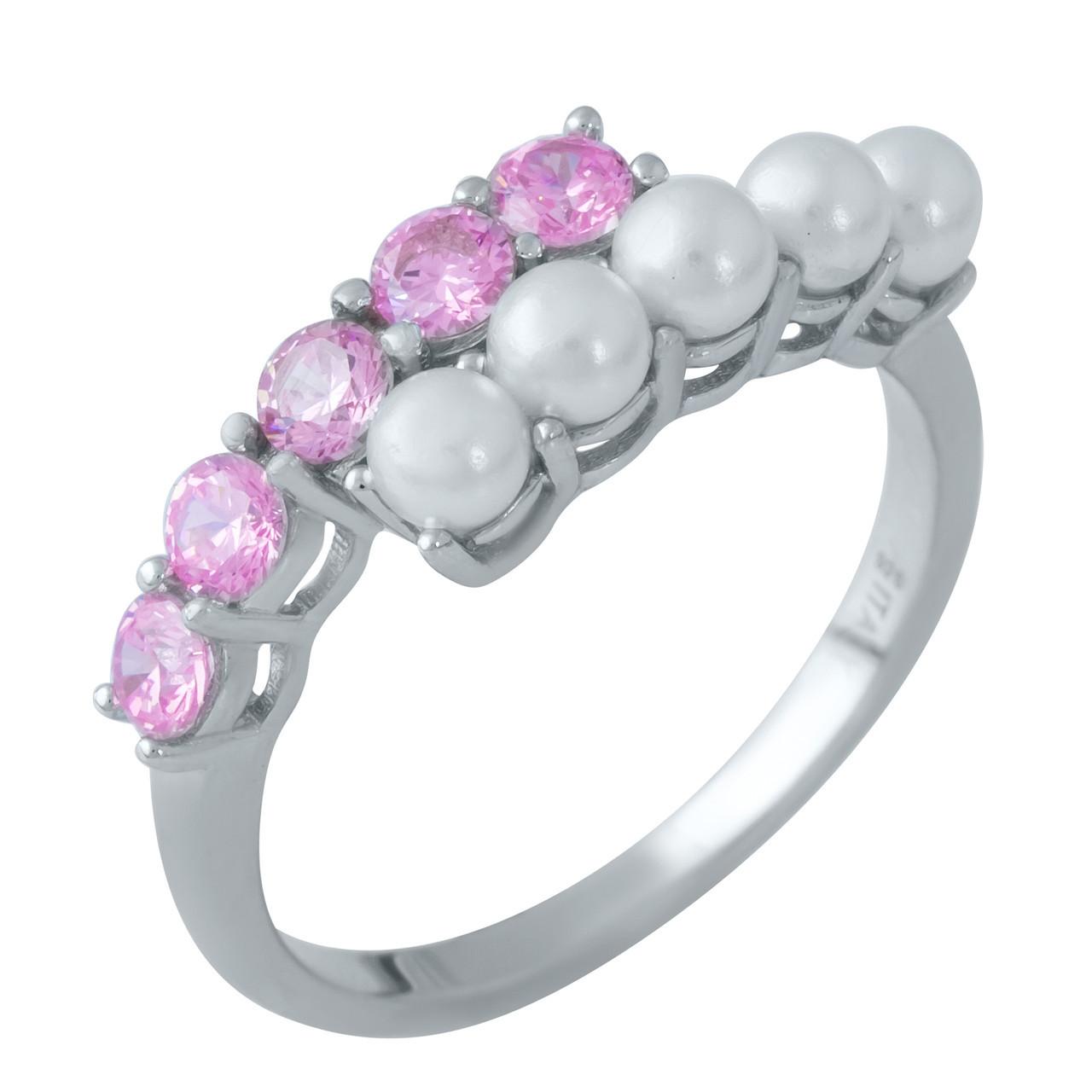 Родированное серебряное кольцо 925 пробы с натуральным перламутром