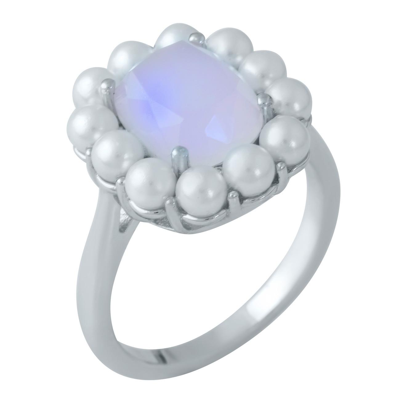 Родированное серебряное кольцо 925 пробы с розовым кварцем,
