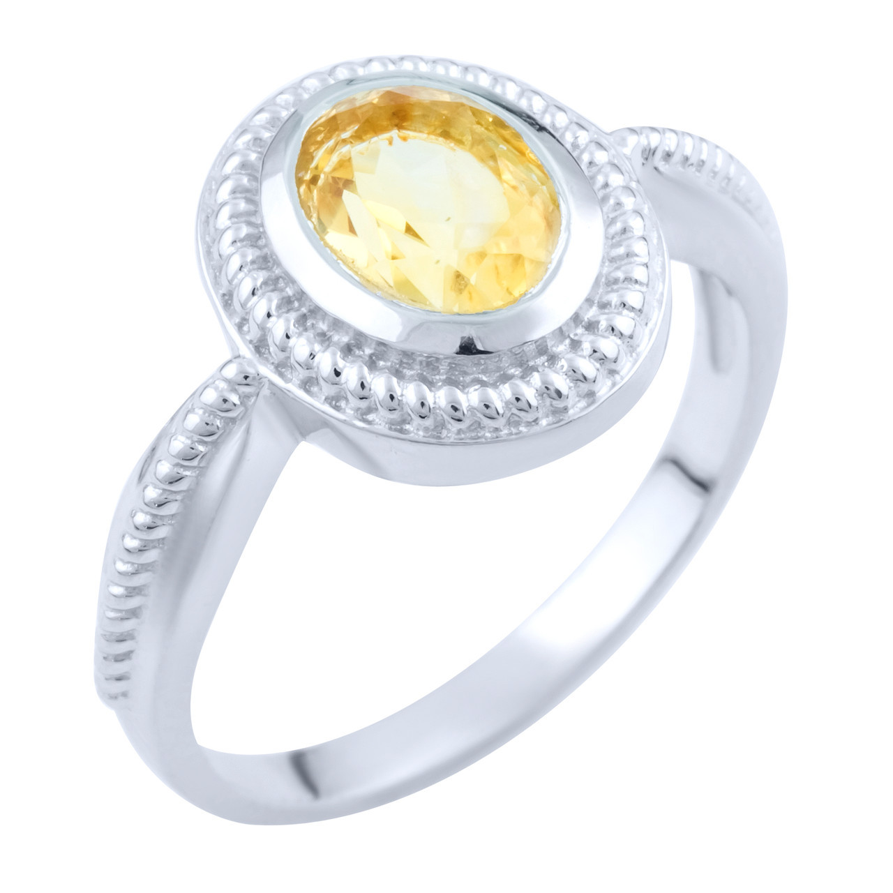 Родированное серебряное кольцо 925 пробы с натуральным цитрином