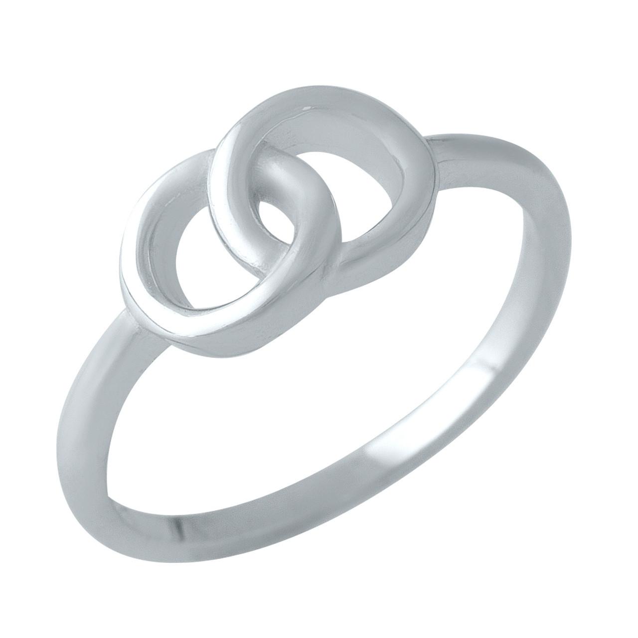 Родированное серебряное кольцо 925 пробы без камней