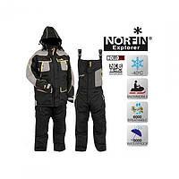 Зимний костюм мужской  Norfin Explorer для зимней рыбалки и охоты черно серого цвета