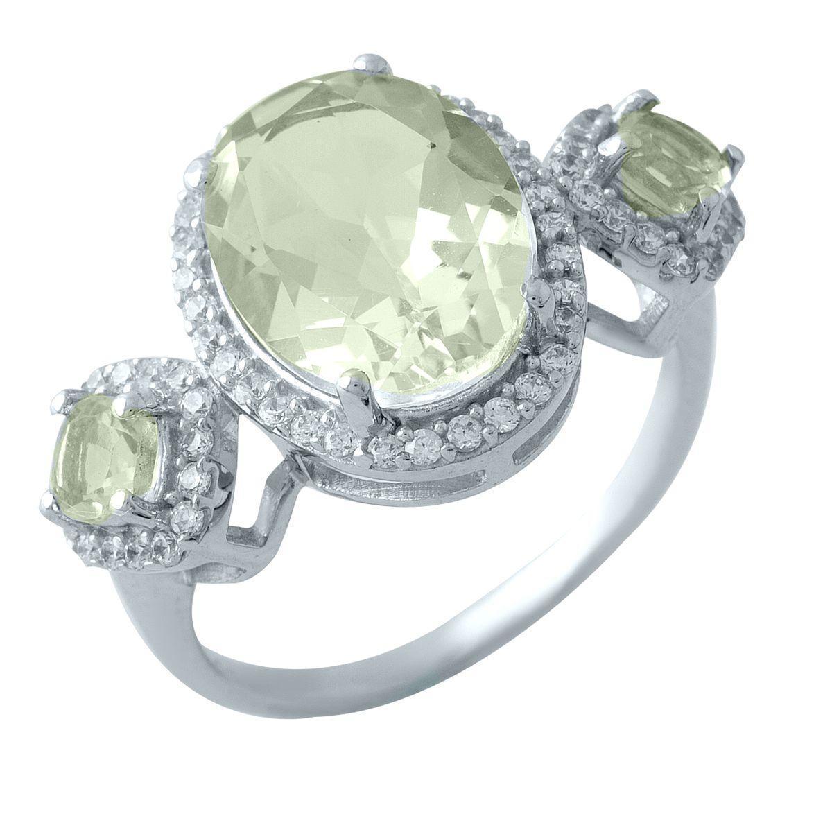 Родированное серебряное кольцо 925 пробы с натуральным зеленим аметистом