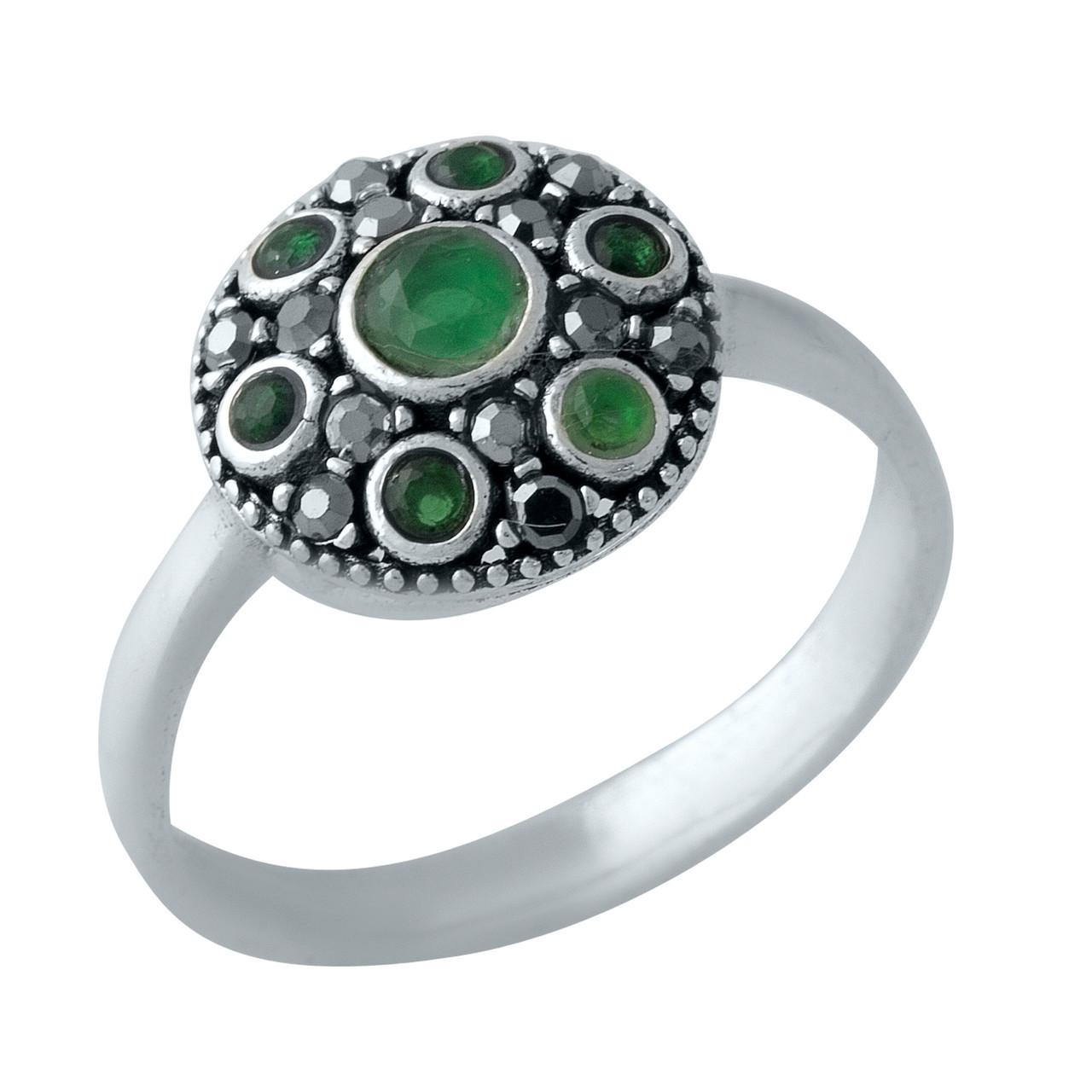 Родированное серебряное кольцо 925 пробы с натуральными марказитами, изумрудом nano