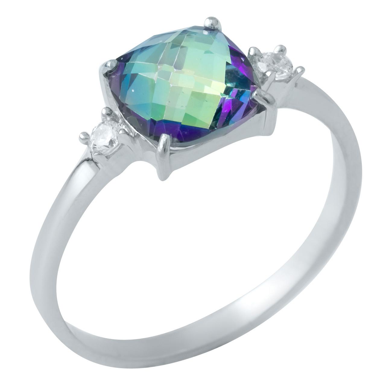 Родированное серебряное кольцо 925 пробы с натуральным мистик топазом