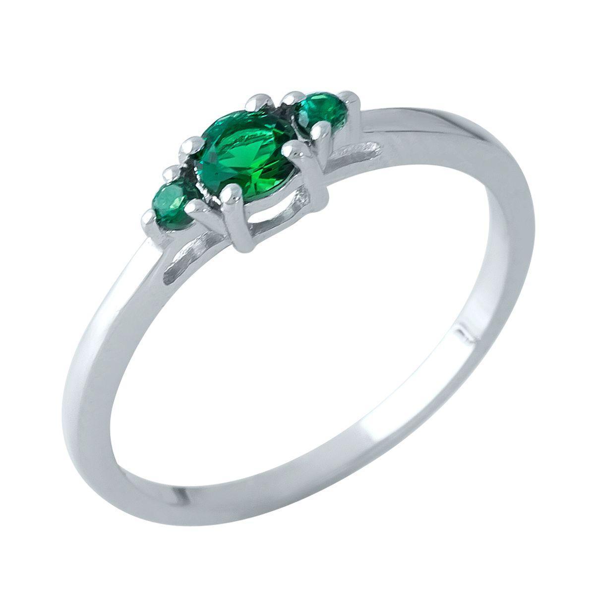 Родированное серебряное кольцо 925 пробы с изумрудом nano