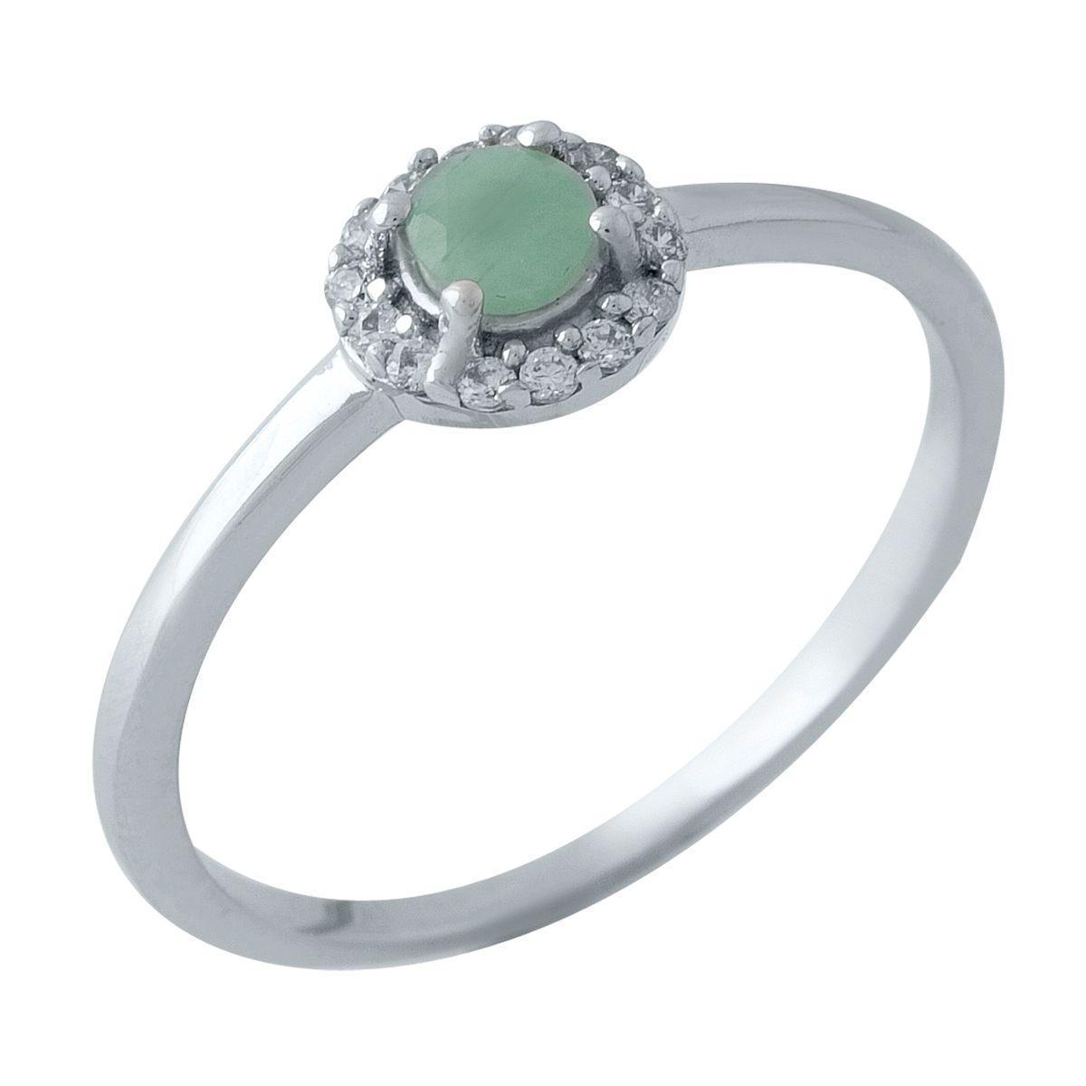 Родированное серебряное кольцо 875 пробы с натуральным изумрудом
