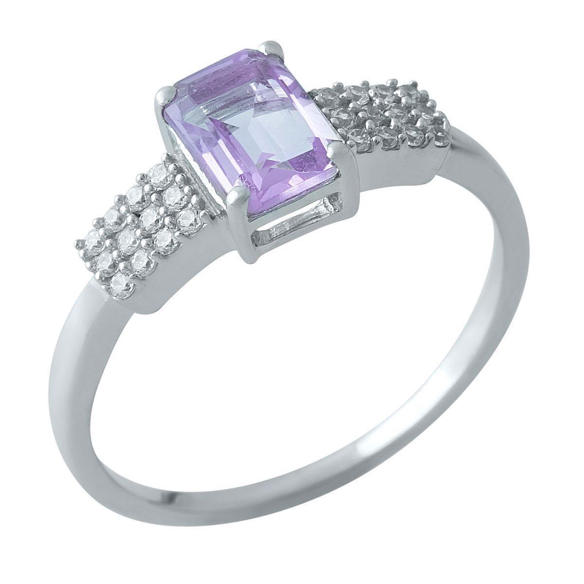 Родированное серебряное кольцо 925 пробы с натуральным аметистом