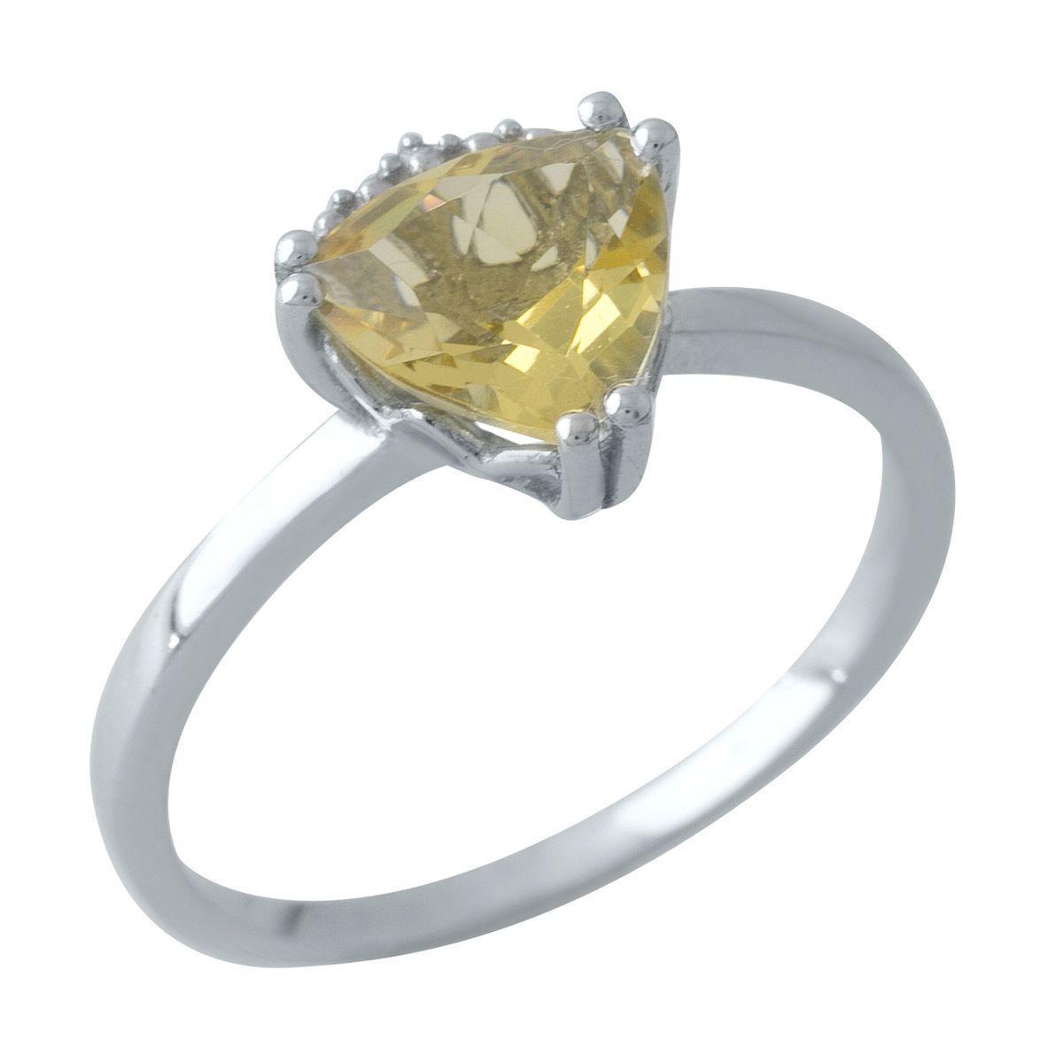 Родированное серебряное кольцо 925 пробы с цитрином nano