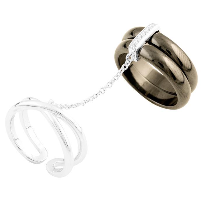Родированное серебряное кольцо 925 пробы с керамикой
