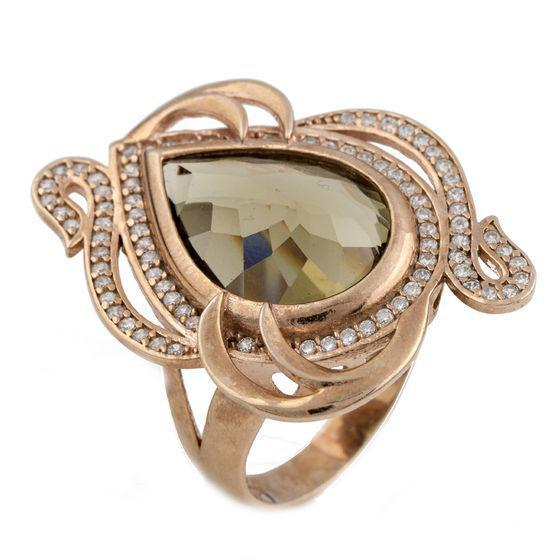Родированное серебряное кольцо 925 пробы с гідротермальним кварцем