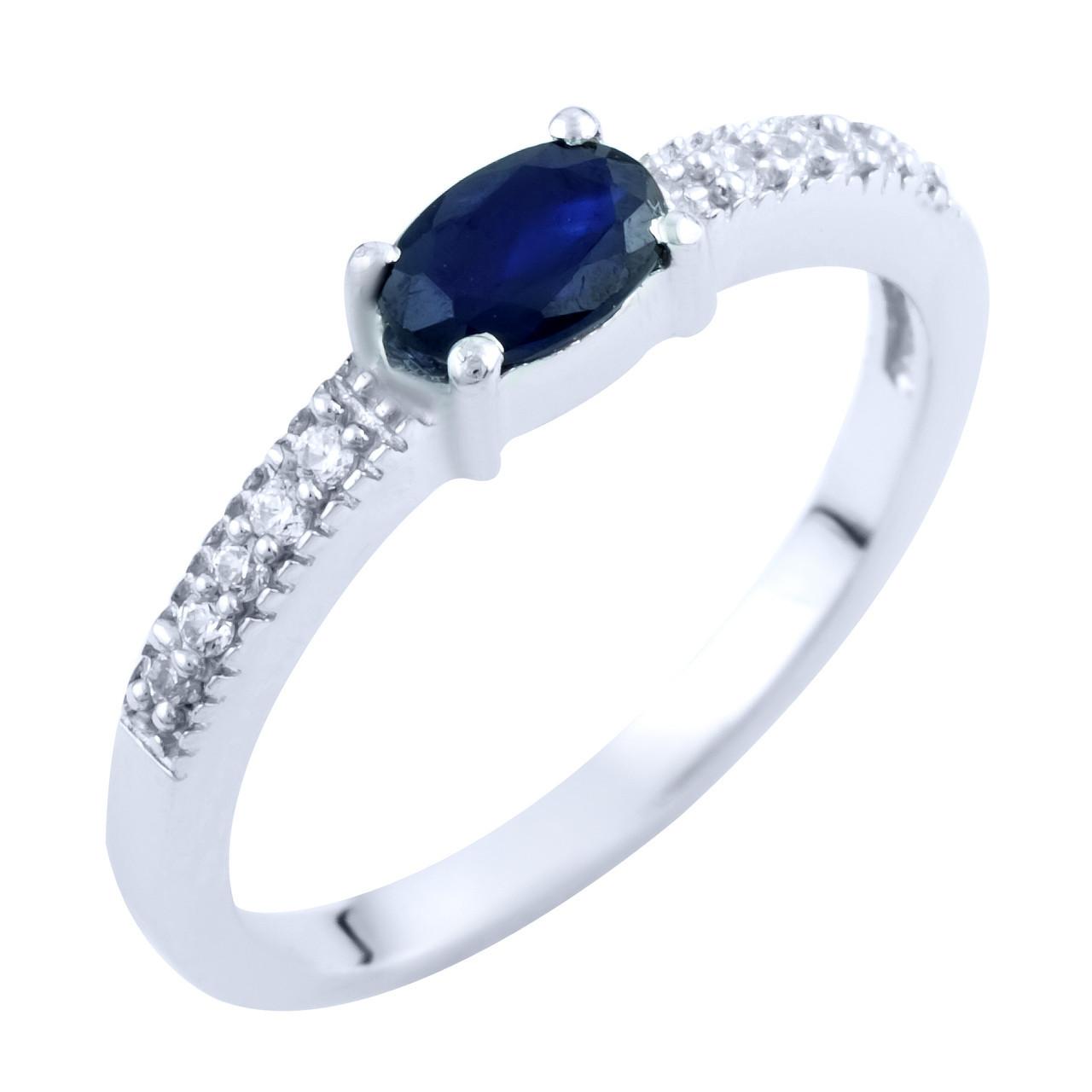 Родированное серебряное кольцо 925 пробы с натуральным сапфиром