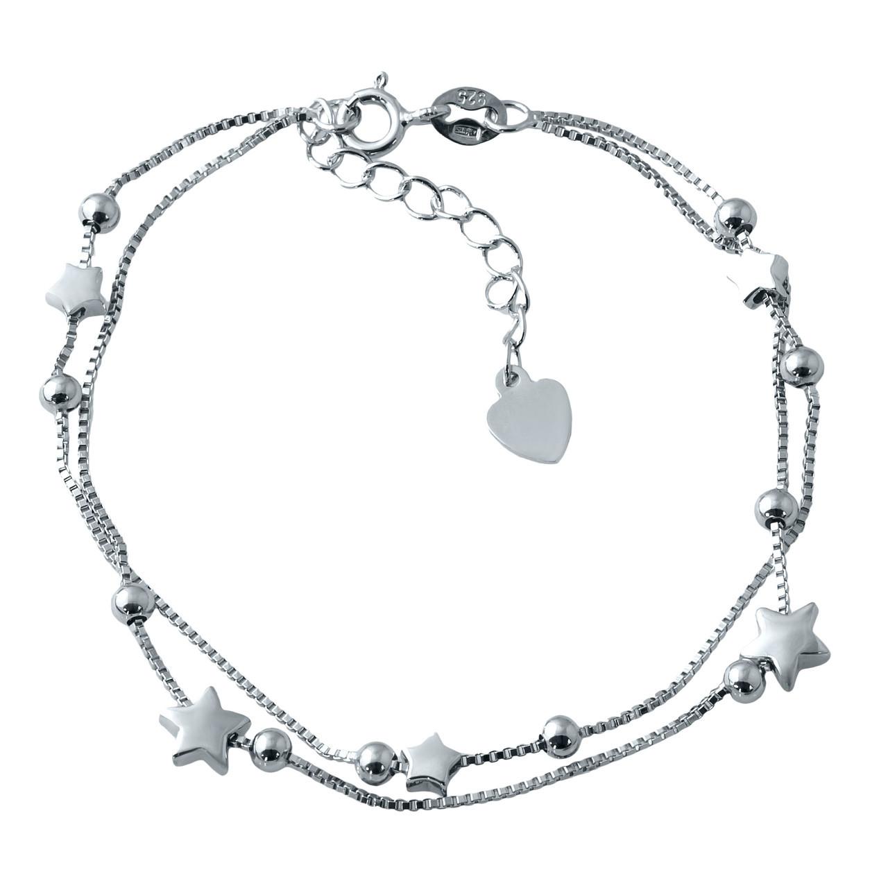 Родированный серебряный браслет 925 пробы без камней