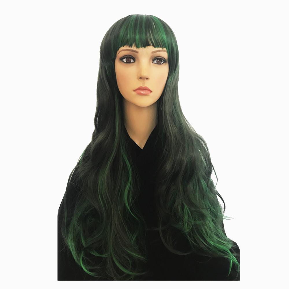 Парик Косплей аниме (черно-зеленый) 80 см.