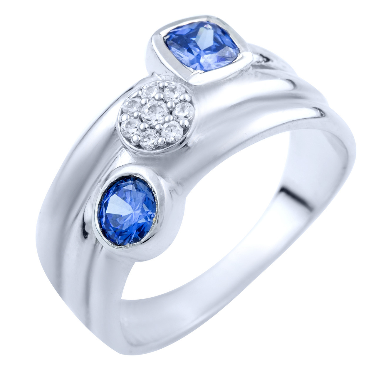 Родированное серебряное кольцо 925 пробы с танзанитом nano