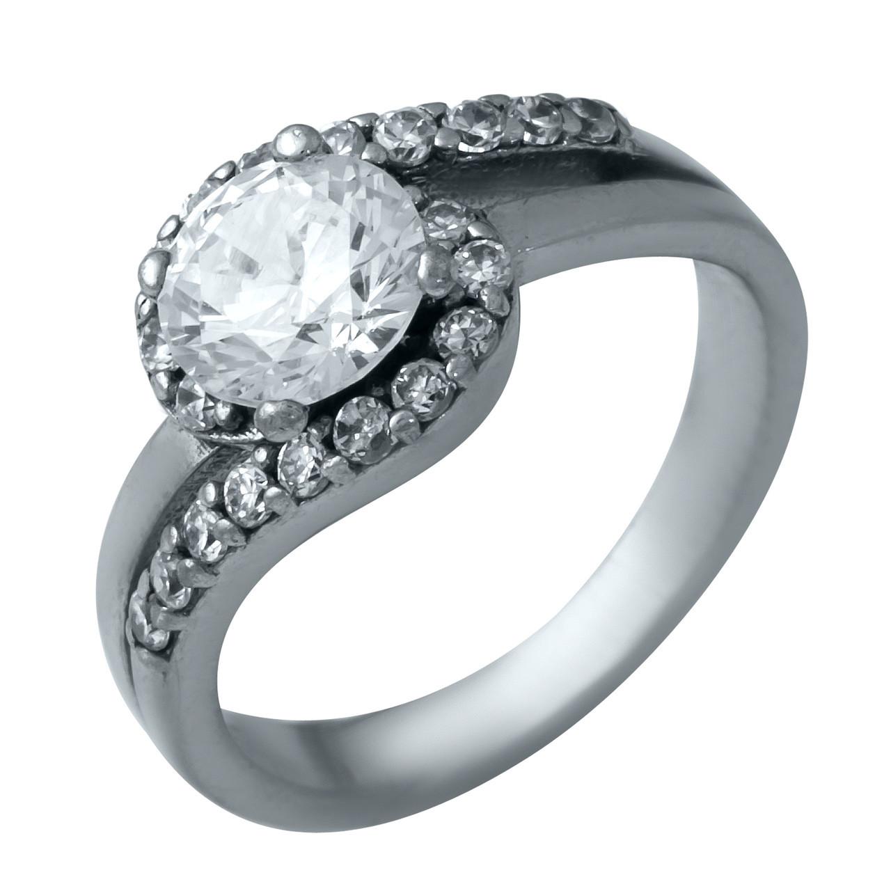 Родированное серебряное кольцо 925 пробы с фианитами