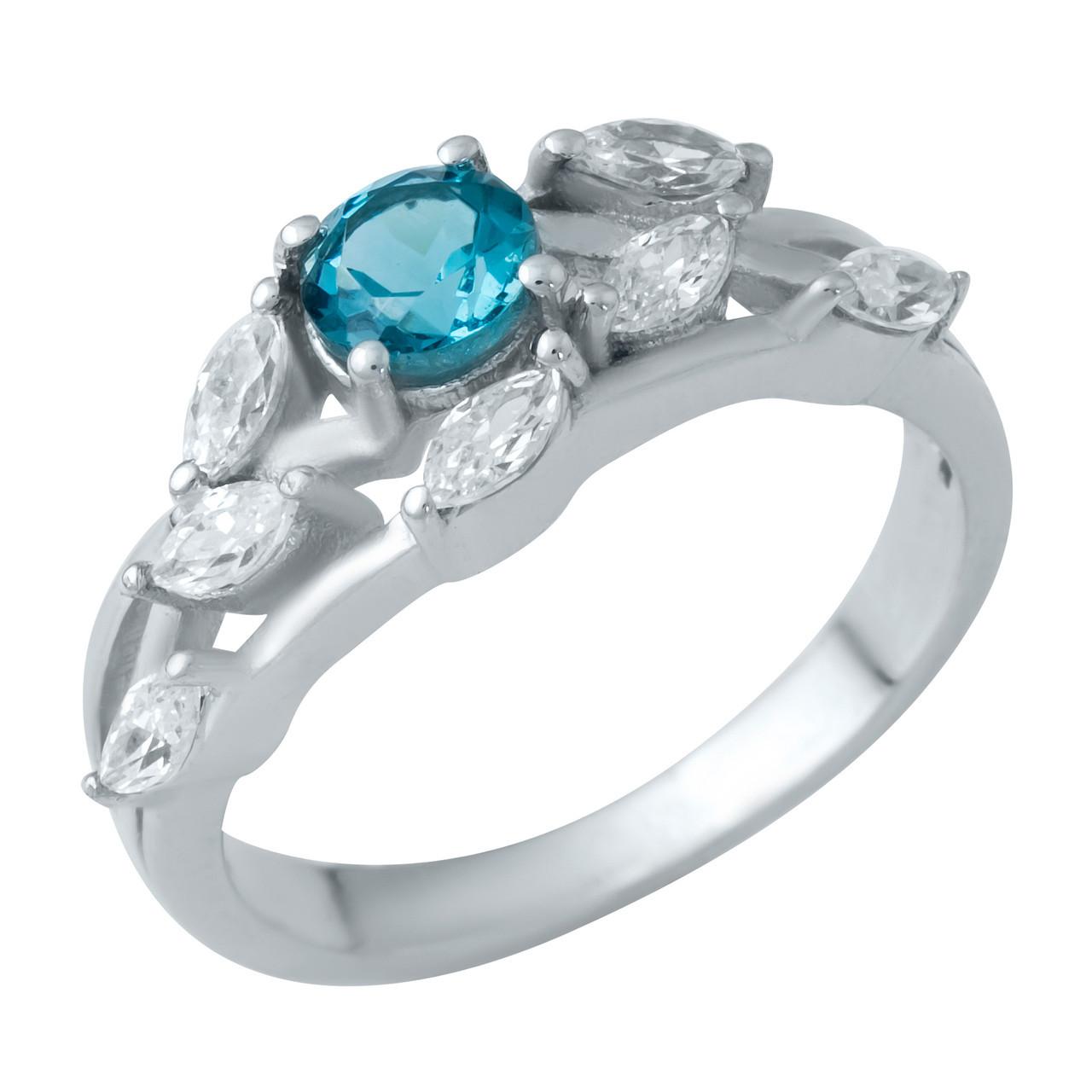 Родированное серебряное кольцо 925 пробы с натуральным топазом Лондон Блю