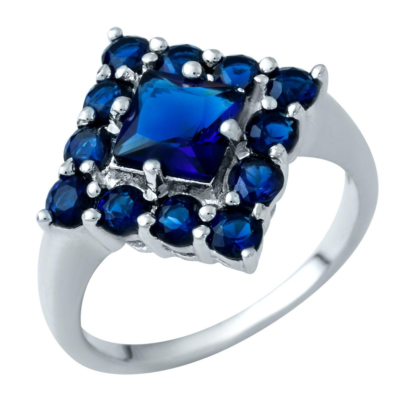 Родированное серебряное кольцо 925 пробы с сапфиром nano