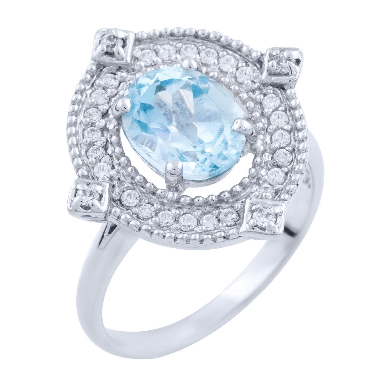 Родированное серебряное кольцо 925 пробы с натуральным топазом
