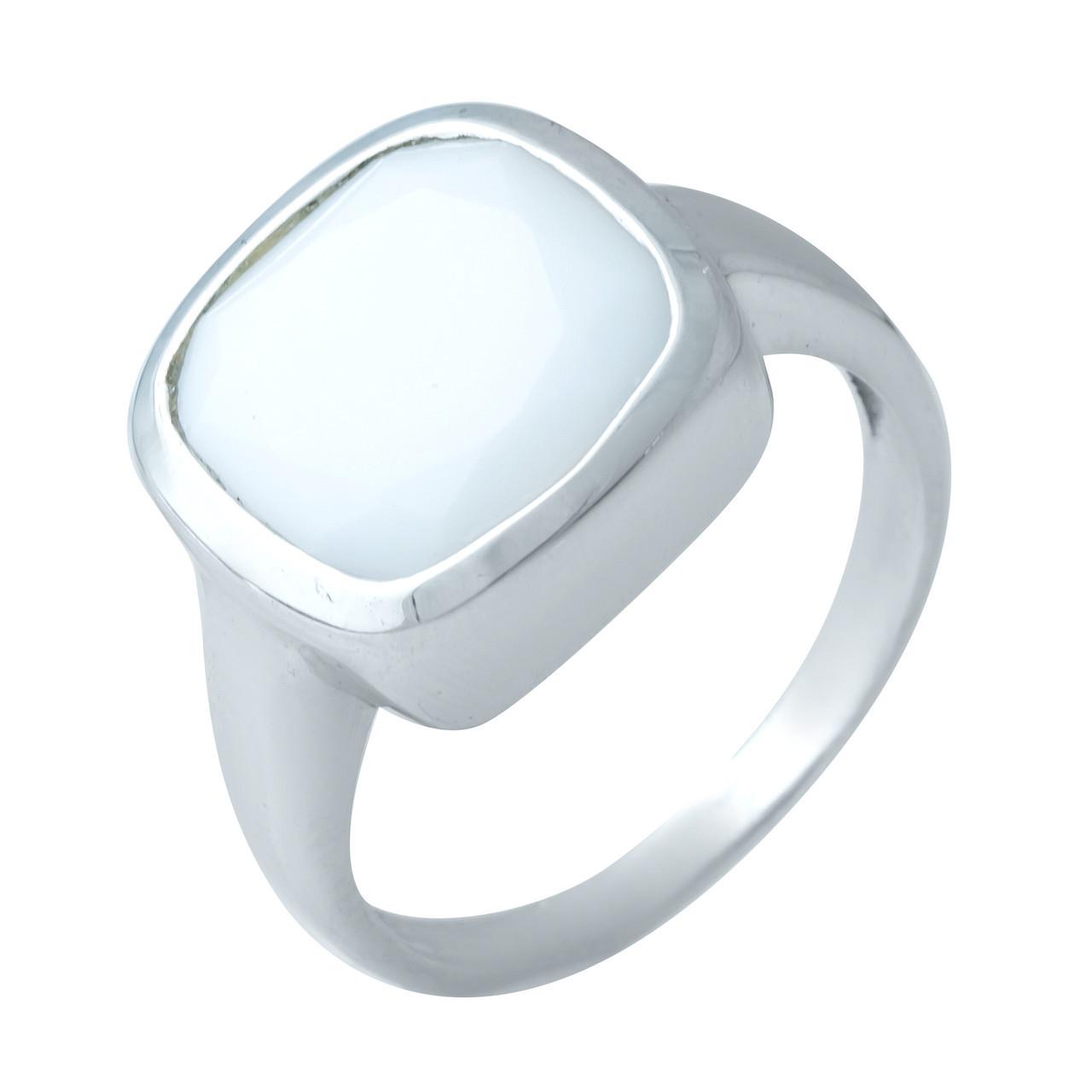 Родированное серебряное кольцо 925 пробы с натуральным агатом