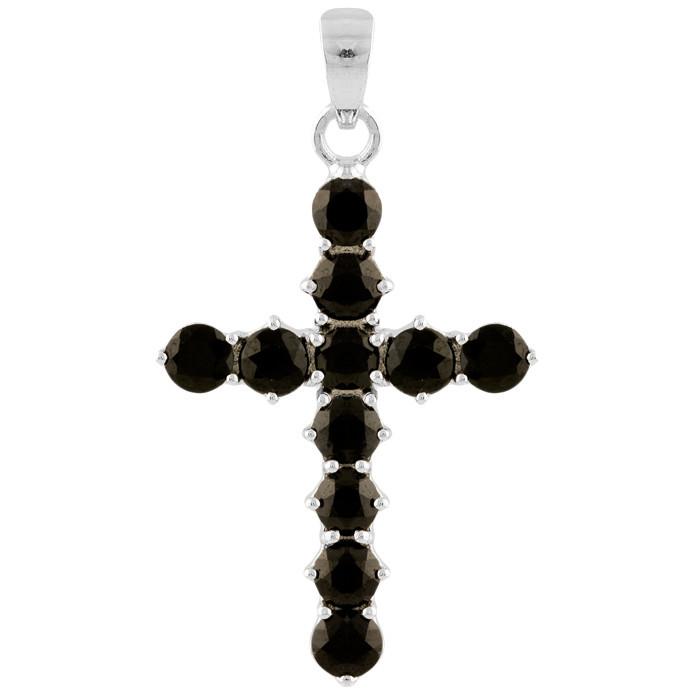 Родированный серебряный крестик 925 пробы с сапфиром