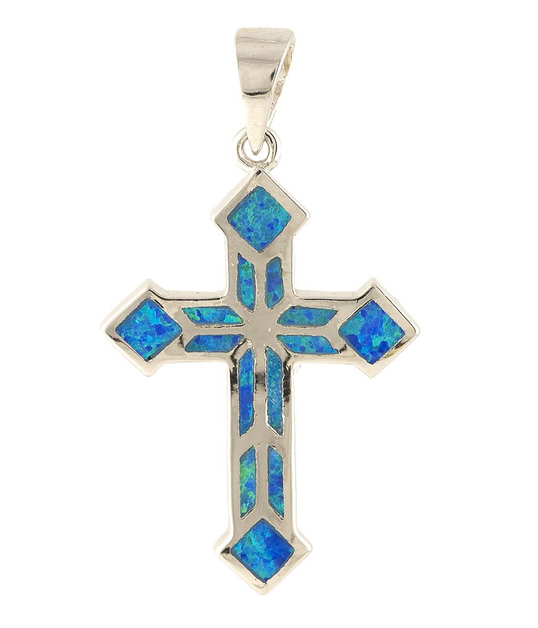 Родированный серебряный крестик 925 пробы с опалом