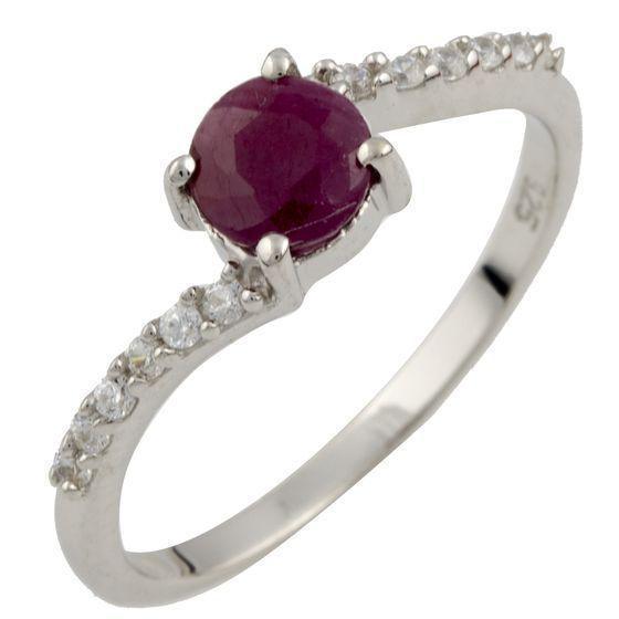 Родированное серебряное кольцо 925 пробы с натуральным рубином
