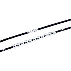 Родированный серебряный шнурок 925 пробы с каучуком