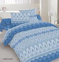 Ткань постельная Поликоттон - Кружева синие (M)