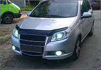 Дефлектор капота (мухобойка) Chevrolet Aveo с 2008-2011 г.в.( х/б) (Шевроле Авео) Vip Tuning
