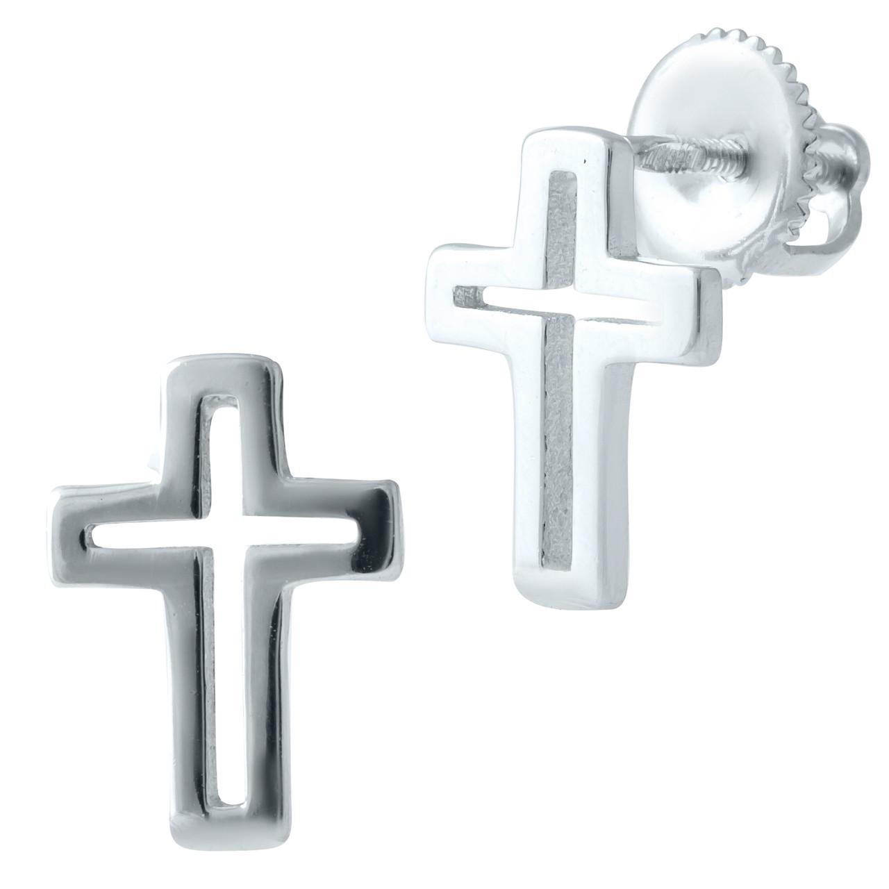 Родированые серебряные серьги 925 пробы без камней
