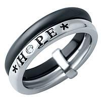 Родированное серебряное кольцо 925 пробы с , керамикой