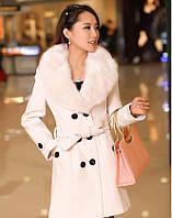 Зимнее пальто женское с меховым воротником, Элегантное зимнее пальто