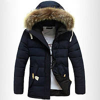 """Мужская куртка с меховым капюшоном """"зима"""""""