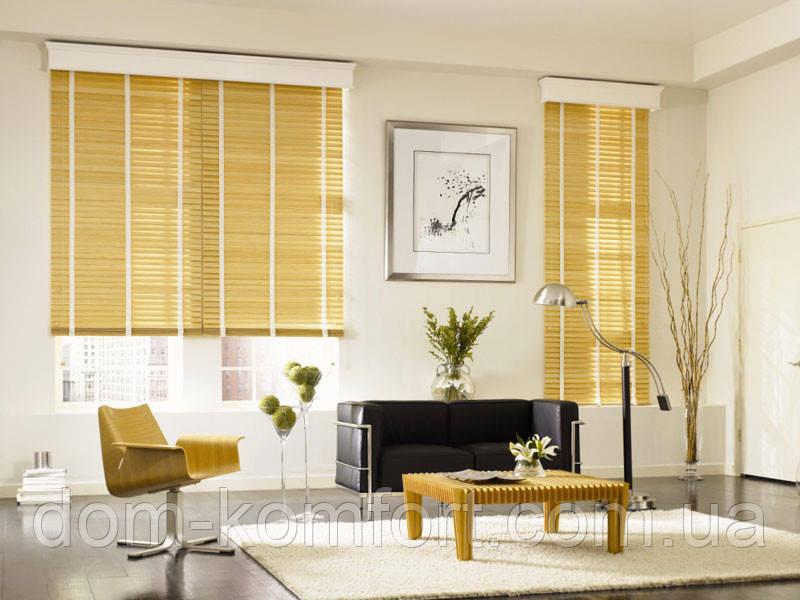 Жалюз горизонтальные Бамбуковые 50мм Натуральный цвет