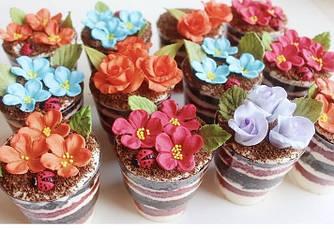 Трайфлы с цветами на 8 марта