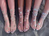 Летние подростковые носки в сеточку,следы