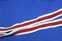 2,5 см. лента трикотажная белая красная №1049, фото 1