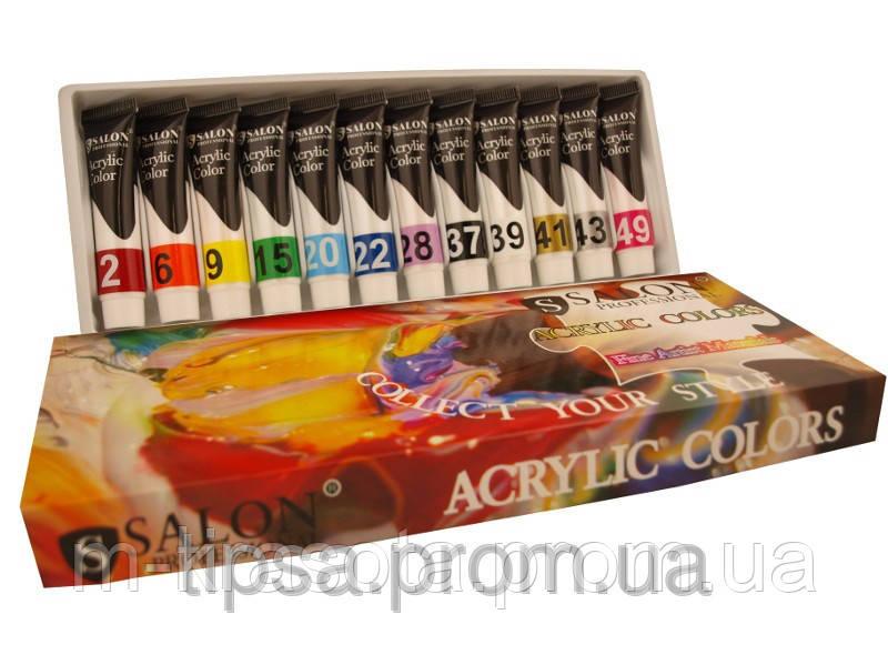 Набор акриловых красок Salon Professional, 12 цветов по 6 мл.