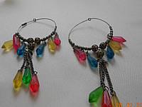Серьги-кольца с цветными бусами Индия