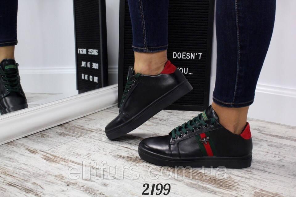 9642d3ea Кеды женские в стиле Gucci, нат. кожа черный. В наличии; Оптом и в розницу  ...
