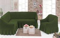 Чехол на диван и одно кресло,Golden - Турция зеленый