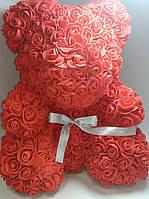 Мишка из фоамирановых роз 36 см розовый красный кремовый, фото 1