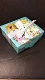 Подарочная коробка с лентой, Шкатулка c открыткой, Ретро, Картонная коробка для конфет, 700 грамм, фото 3