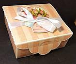 Подарочная коробка с лентой, Шкатулка c открыткой, Букет тюльпанов, Картонная упаковка для конфет, 700 грамм, фото 3