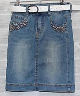 770166f0140 388 грн. при заказе от 6 шт. В наличии. Юбка джинсовая подростковая с  бусинами на девочку 8-14 лет
