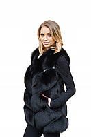 Женский кожаный жилет с мехом лисы F.P, XL