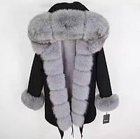 Куртка-парка с натуральным мехом лисы, L