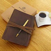 Кожаный блокнот с ручкой винтажного стиля