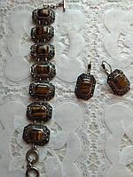 Модный стильный комплект с натуральных камней в мельхиоре, ,браслет и серьги ,тигровый глаз